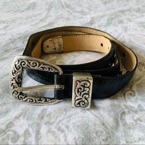 Vintage Brighton Belt Black Silver